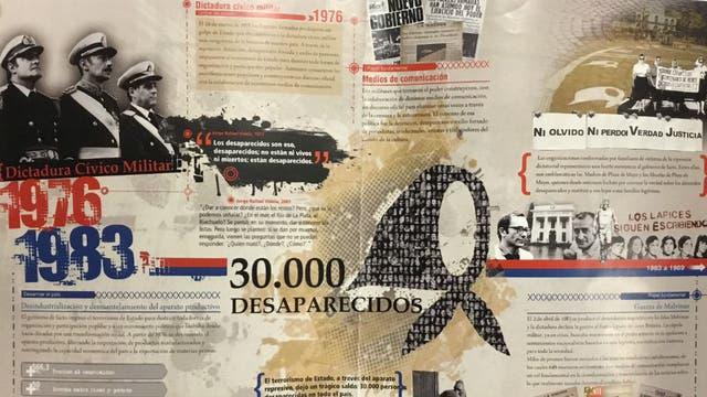 La dictadura de 1976-1983, en una lámina que formaba parte de los talleres. Alusiones a los 30.000 desaparecidos, al rol de los medios, a Rodolfo Walsh y a la Noche de los Lápices