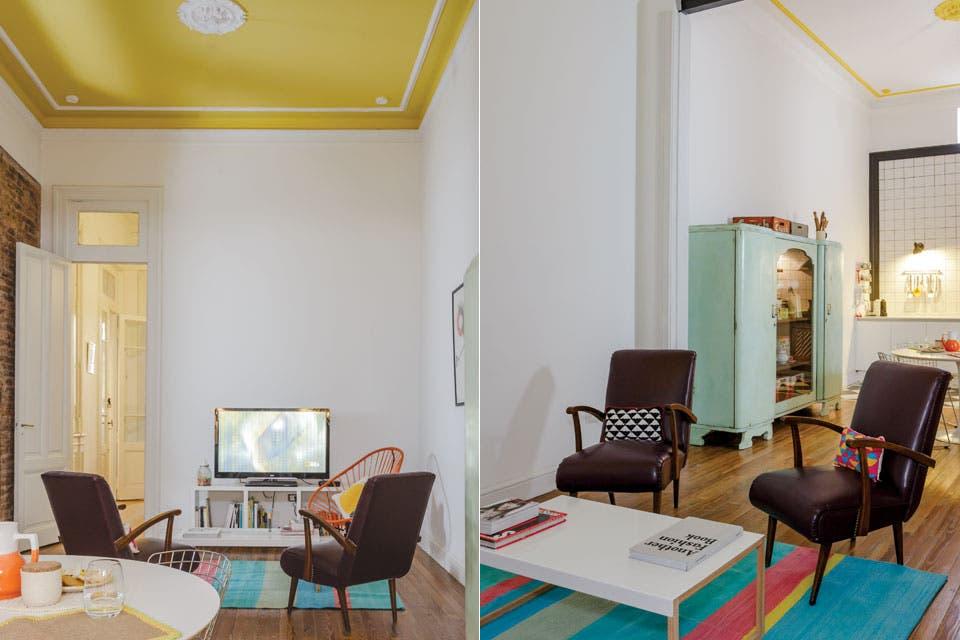 Si el techo es alto, salir del blanco a la hora de pintarlo es una buena alternativa.  Foto:Living /Archivo LIVING