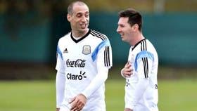 Pablo Zabaleta y Lionel Messi, juntos en la selección desde el Sub 20