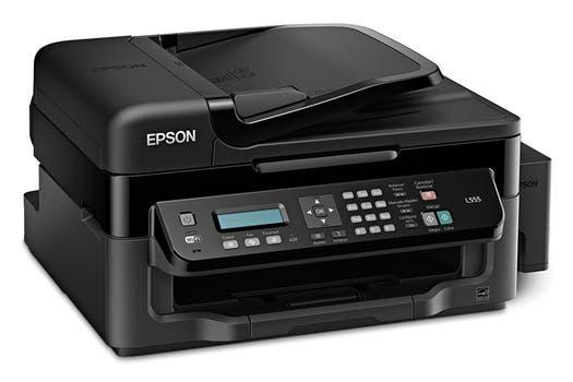 Epson L555: inyección de tinta continua multifunción, con impresión, copia, escaneo y fax, con conexión USB / Wi-Fi.
