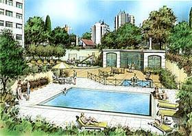 Perspectiva donde puede apreciarse el sector de la piscina