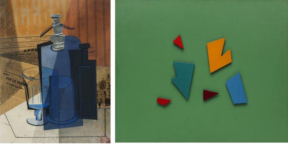 Il sifone (1915), de Emilio Pettoruti, es una de las obras destacadas de las salas que reabrió el MNBA (izq.). Esta obra de Raúl Lozza está incluida en la muestra La paradoja en el centro, con obras del acervo del Mamba (der.)