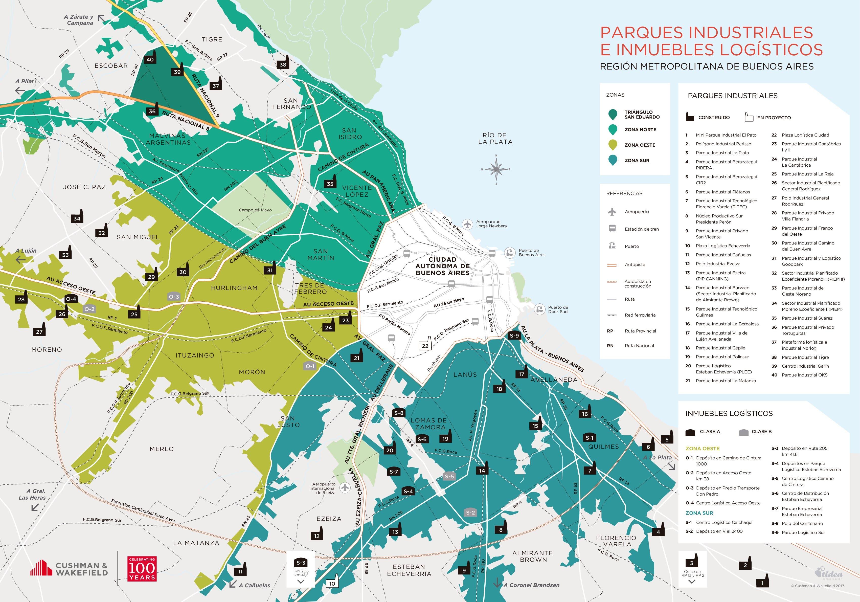 Mapa de parques industriales e inmuebles logísticos, elaborado por Cushman & Wakefield.