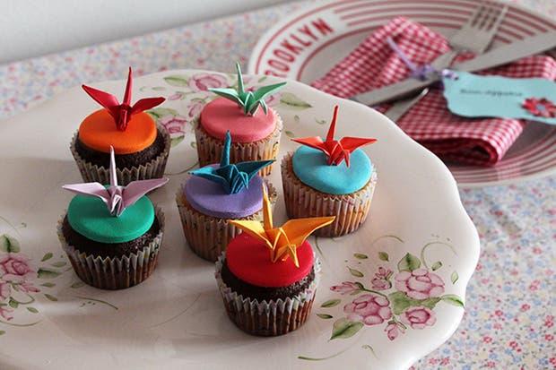 Grullas aplicadas a la decoración de muffins, de Origamizate.