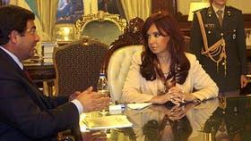 Cristina Kirchner durante una reunión con Echegaray en 2009