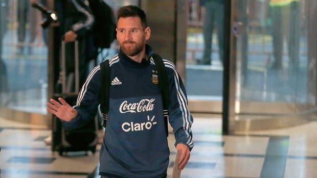 Lionel Messi llega al hotel de Guayaquil