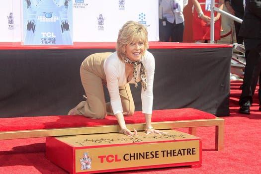 A aprender con Jane; Fonda hizo aerobics en vivo en el Classic Film Festival, en Los Ángeles. Foto: AFP