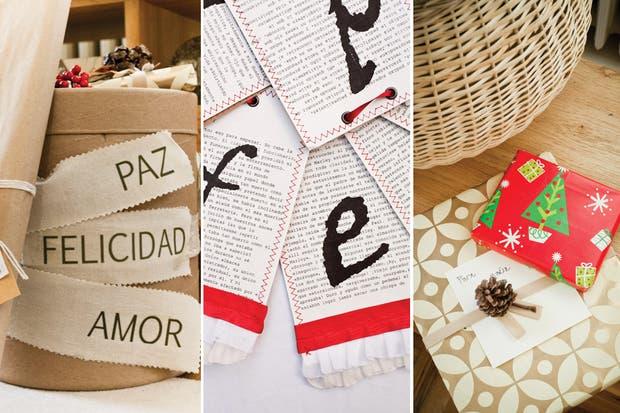 Las letras sueltas del cartel que se diseñó sobre trozos de papel impreso (Pd Posdata para Petit Margot) y lindísimas opciones para presentar los regalos debajo del arbolito..