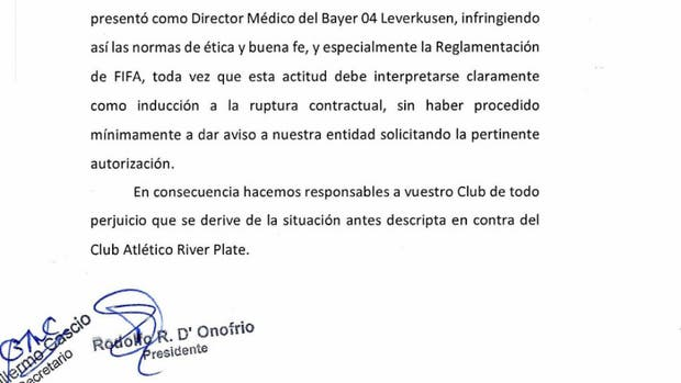 El comunicado emitido por River este lunes
