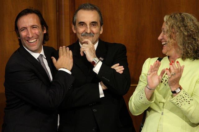 Moreno, Beatriz Paglieri y el ministro de Economía, Hernán Lorenzino