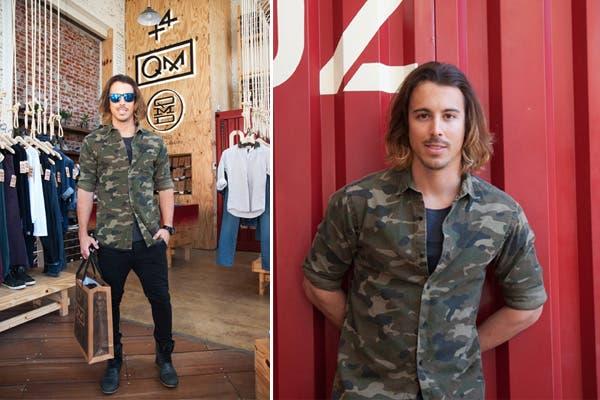 El músico Lucas Corrado pasó por el local de QM Collective y se probó de todo. Foto: Aló Comunicación