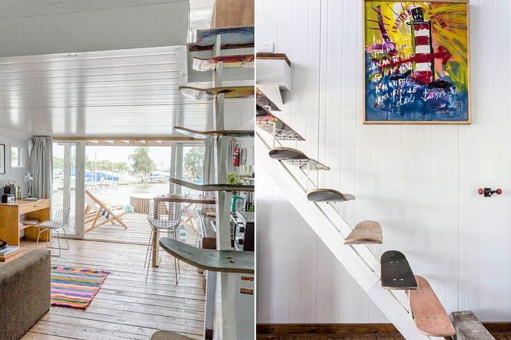 A la izquierda del espacio, un peque?o escritorio de MDF con silla 'Bertoia'. Para la escalera, se usaron tablas de longboard como escalones