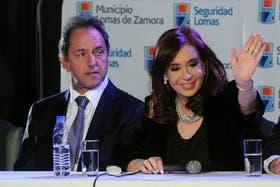 Daniel Scioli y Cristina Kirchner, el jueves pasado, cuando la Presidenta lo cuestionó duramente sin nombrarlo