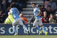 Manchester City goleó 4-0 a Bournemouth con un gol del Kun Agüero de cabeza