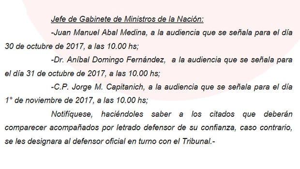 Citaron a indagatoria a tres ex jefes de Gabinete de Cristina Fernández