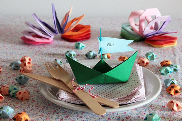 Propuesta para una mesa de fiesta infantil, de Origamizate.