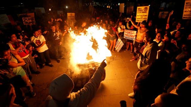 Una manifestación contra Donald Trump, luego de su victoria electoral