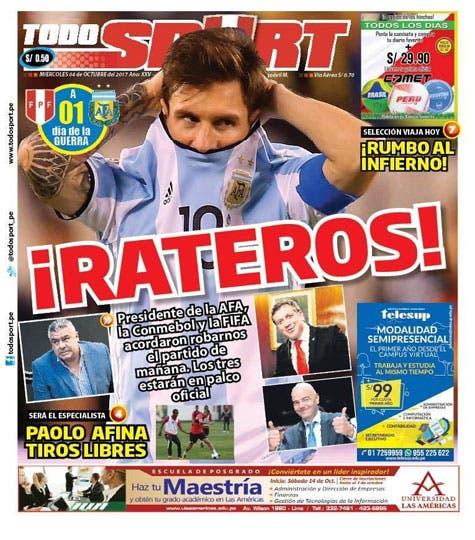 La tapa del diario Todo Sport, de Perú