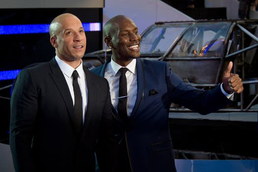 Vin Diesel y Tyrese Gibson: los rápidos y furiosos preferidos, en Londres, en la premiere. Foto: AFP