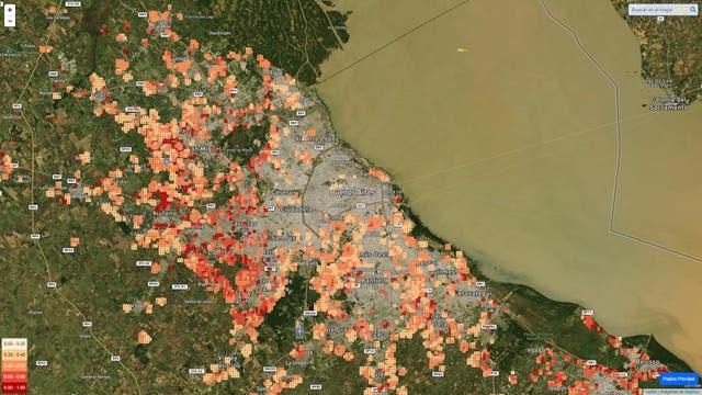 El mapa generado por el entrecruzamiento de datos y análisis de las imágenes