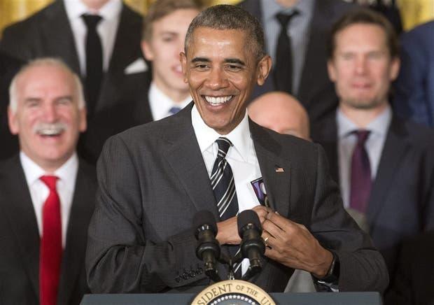 Obama, ayer, durante una ceremonia informal en la Casa Blanca