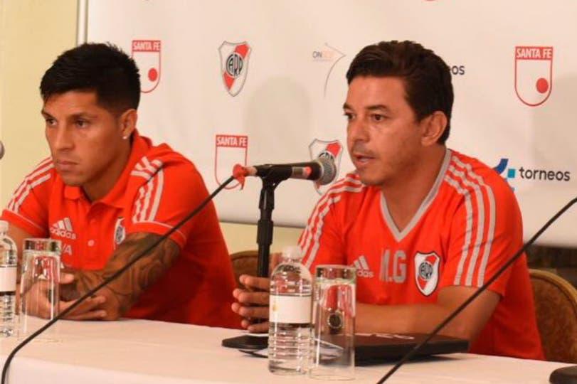 Marcelo Gallardo brindó una confefrencia junto con Enzo Pérez