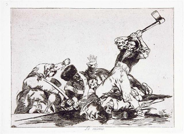 Los desastres de la guerra: lo mismo (1810-14) El título alude al de la estampa anterior, Con razón o sin ella. La primera mostraba la muerte de los españoles: esta, la de franceses.
