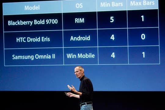 El cuadro con la comparativa realizada por Apple, durante la presentación que realizó Steve Jobs. Foto: AFP