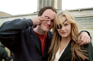 Daryl Hannah y Quentin Tarantino en un alto de la filmación de Kill Bill
