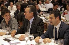 Kicillof, López Anadón y Galuccio ayer, en el almuerzo por el Día del Petróleo