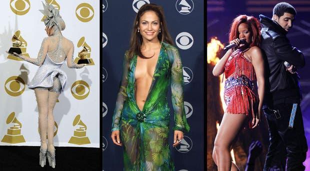 Lady Gaga, Jennifer Lopez y Rihanna mostraron sus curvas en diferentes entregas de los Grammy