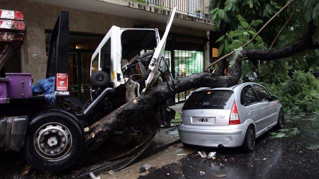 Recoleta: un camión fuera de control chocó contra un árbol y se subió a la vereda