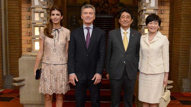 Macri como la primera dama participaron en la cena de homenaje que les ofreció hoy el primer ministro de Japón, Shinzo Abe, y su esposa