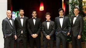 Mariano Hood (subcapitán), Andrés Molteni, Machi González, Diego Schwartzman, Guido Pella y Daniel Orsanic