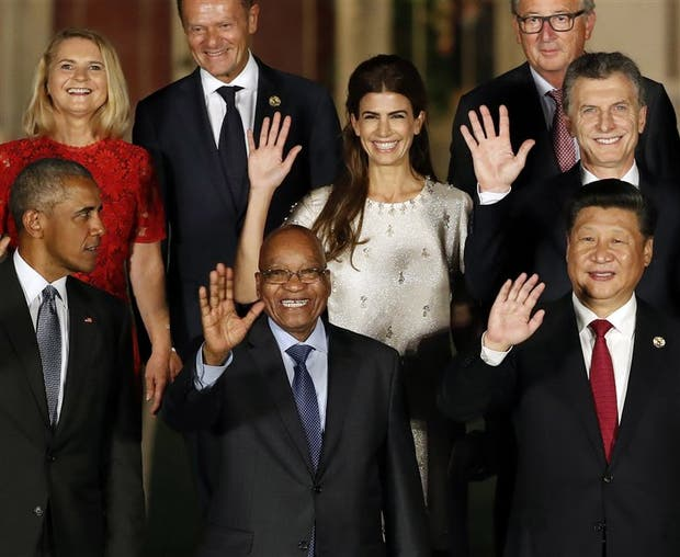Macri y Awada, ayer, en la cumbre del G-20 en Hangzhou, junto a Obama, Xi Jinping y otros mandatarios