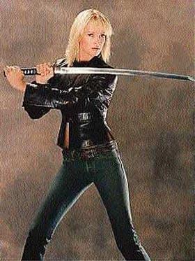 Para el film Tarantino, que se inspira en las películas del estilo Bruce Lee, Uma debió entrenarse fuertemente en artes marciales durante varios meses