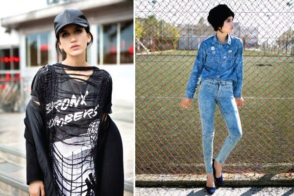 Izq: Remera larga (Nike, $179), suéter grunge (Blackmamba, $798), tapado recto (Trosman, $2280), gorrita de ecocuero (Como quieres que te quiera, $239).Der: Camisa de denim (Ayres, $668), jeans nevados con cierre (Levis, $789), gorro de piel (AYNotDead, $368), stilettos (Viamo, $499). Foto: Coni Dietrich
