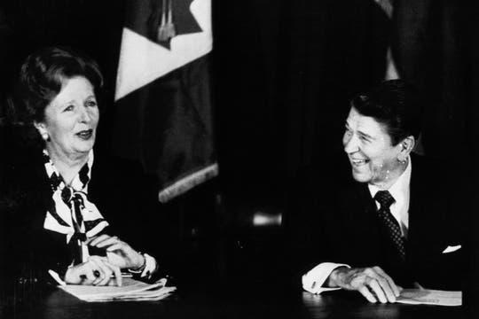 Junto a Ronald Reagan, en una de las tantas reuniones con el entonces presidente de EE.UU, 24 de octubre de 1985. Foto: Archivo