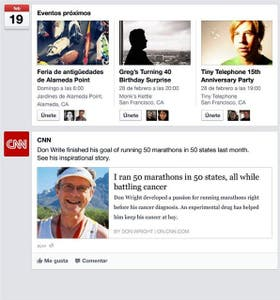 La nueva interfaz de Facebook