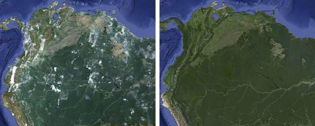 Una vista de la región norte de América del sur, en el antes y después del cambio realizado por Google en sus servicios Maps y Earth