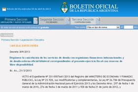 Pago de deuda con reservas, en el Boletín Oficial