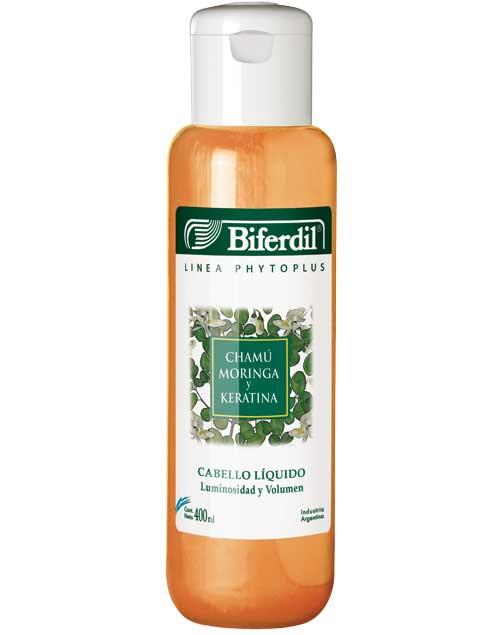 Shampoo Moringa y Keratina. Ideal para cabellos finos ($158, Biferdil).