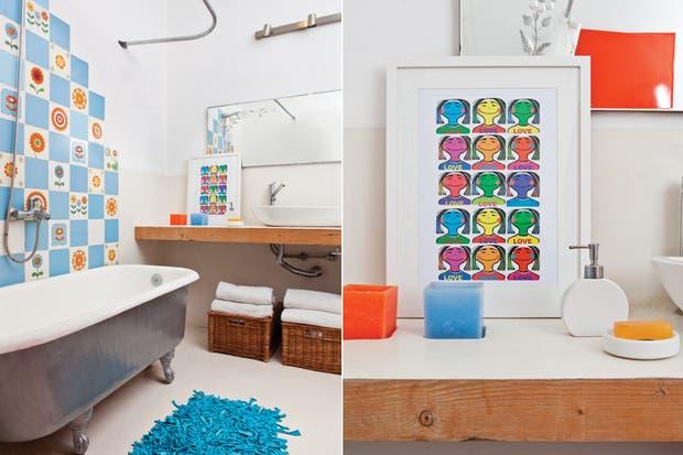 La ambientación surgió a partir de la bañadera ($1.980) que Betina compró en un remate. Agregó elementos decorativos que la complementan, como los cuadros, el espejo y los azulejos de la década del 60 que consiguió en una casa de demolición.  /Javier Picerno