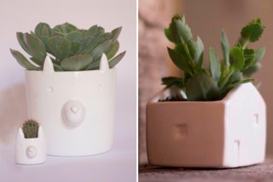Macetas de cerámica con forma de animales y casas, Verde Cactus. Desde $130 hasta $480 dependiendo del tamaño. Foto: OHLALÁ!