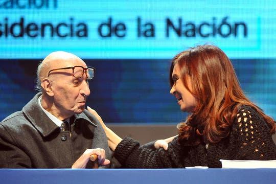 En Tecnópolis, con la presidenta Cristina Kirchner. Foto: Archivo