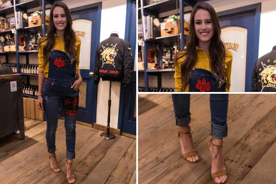 Luli Fernández apostó por un jardinero de jean con bordados y lo combinó con sandalias a tono; ¿Qué te parece su look?. Foto: gentileza Prensa