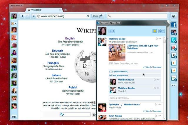 Una captura de pantalla de RockMelt, el navegador web que incorpora diversas funciones de las redes sociales y que promueve el fundador de Netscape, Marc Andreessen