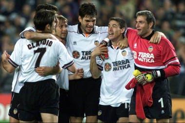 Los días en Valencia: aquí, con el Piojo López, Gaizka Mendieta Mauricio Pellegrino, Santi Cañizares