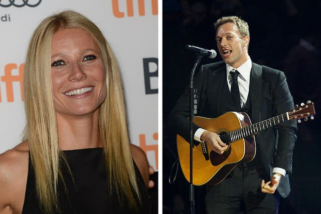 Paltrow y Martin; la actriz y el cantante se conocieron en un recital de Coldplay