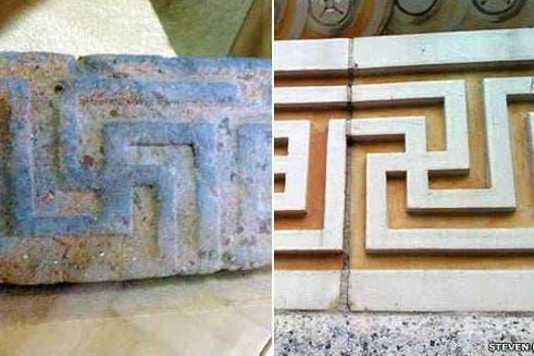 La arquitectura, desde la de la antigua Grecia (izq.) hasta la del contemporáneo EE.UU. (der.) tiene motivos con esvásticas